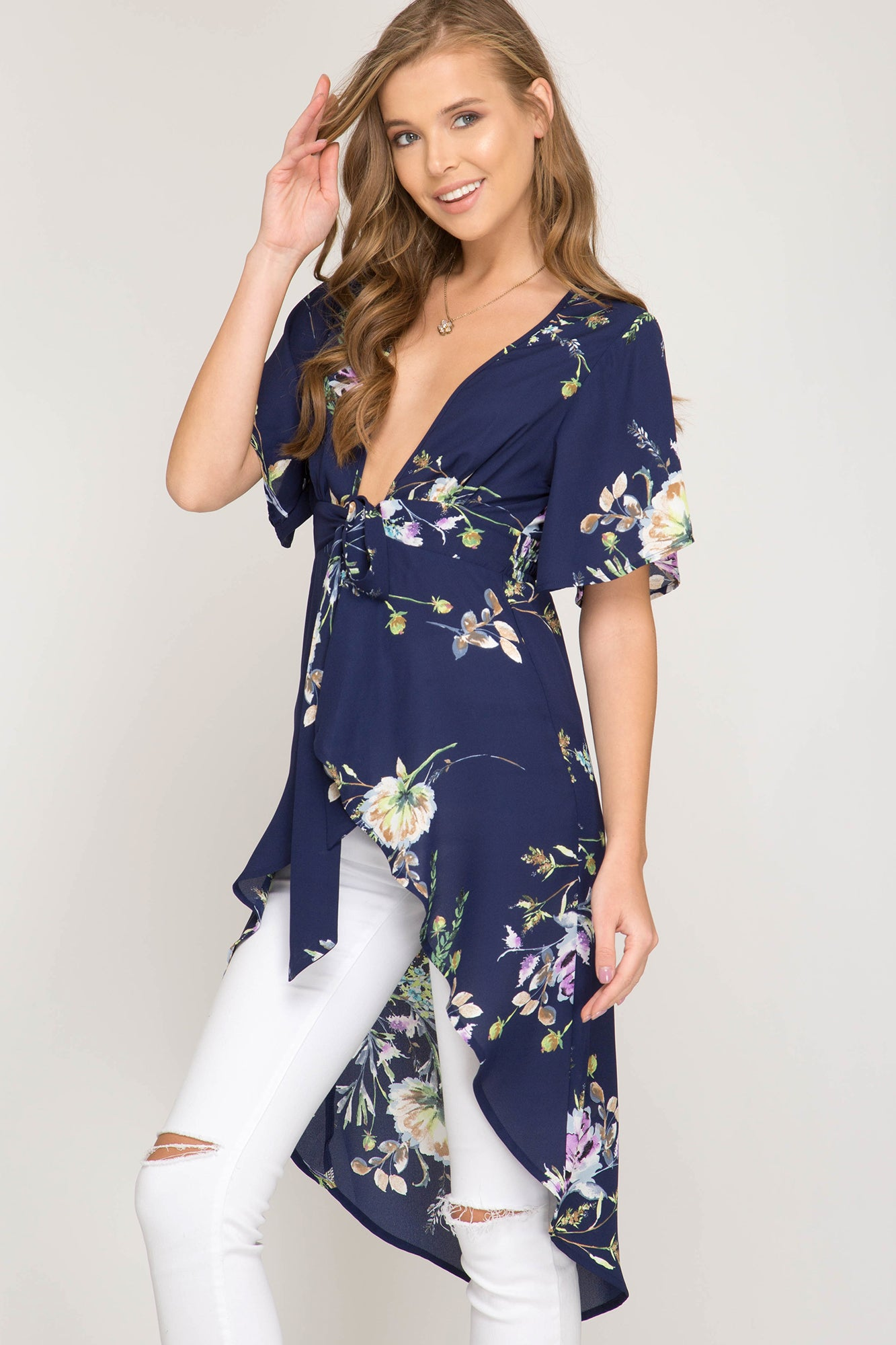 Front Tie Hi Low Floral Top