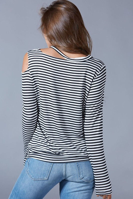 Striped Cold Shoulder Jersey Top
