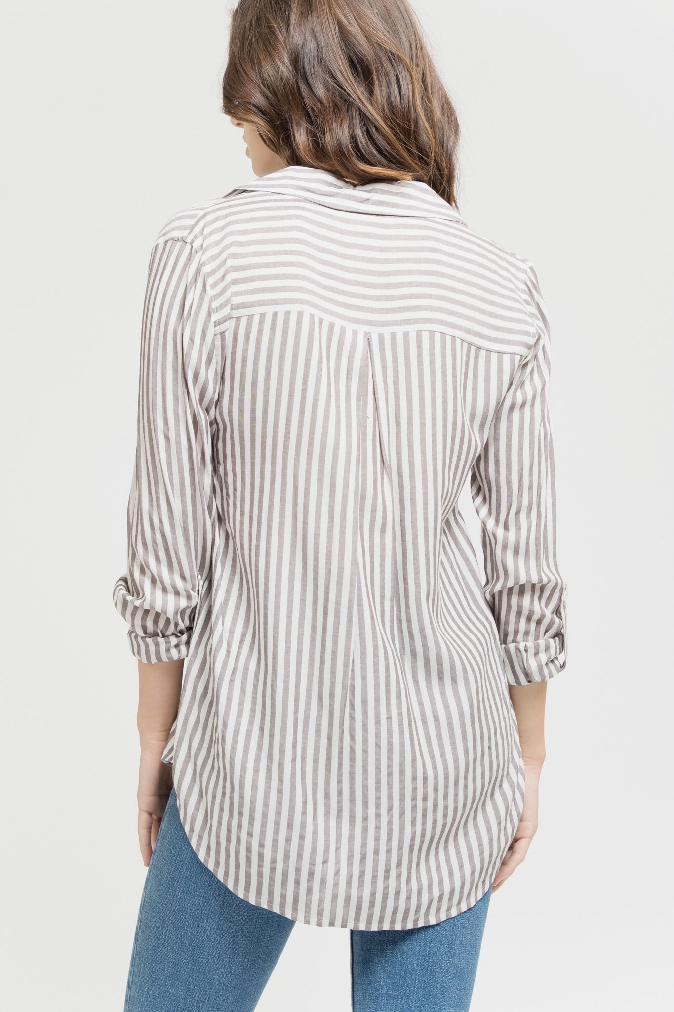 Woven Button Up Striped Top