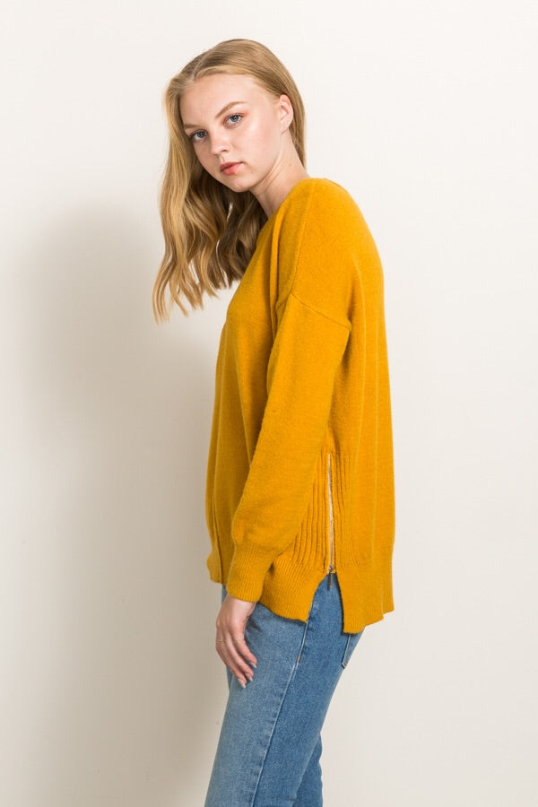 Side Zipper Oversized Sweater
