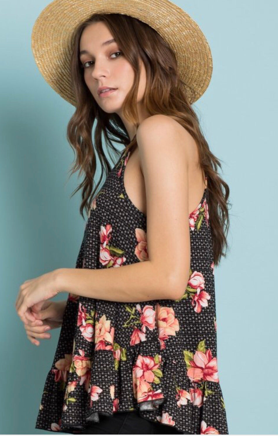 High Neck Floral Racer Tank