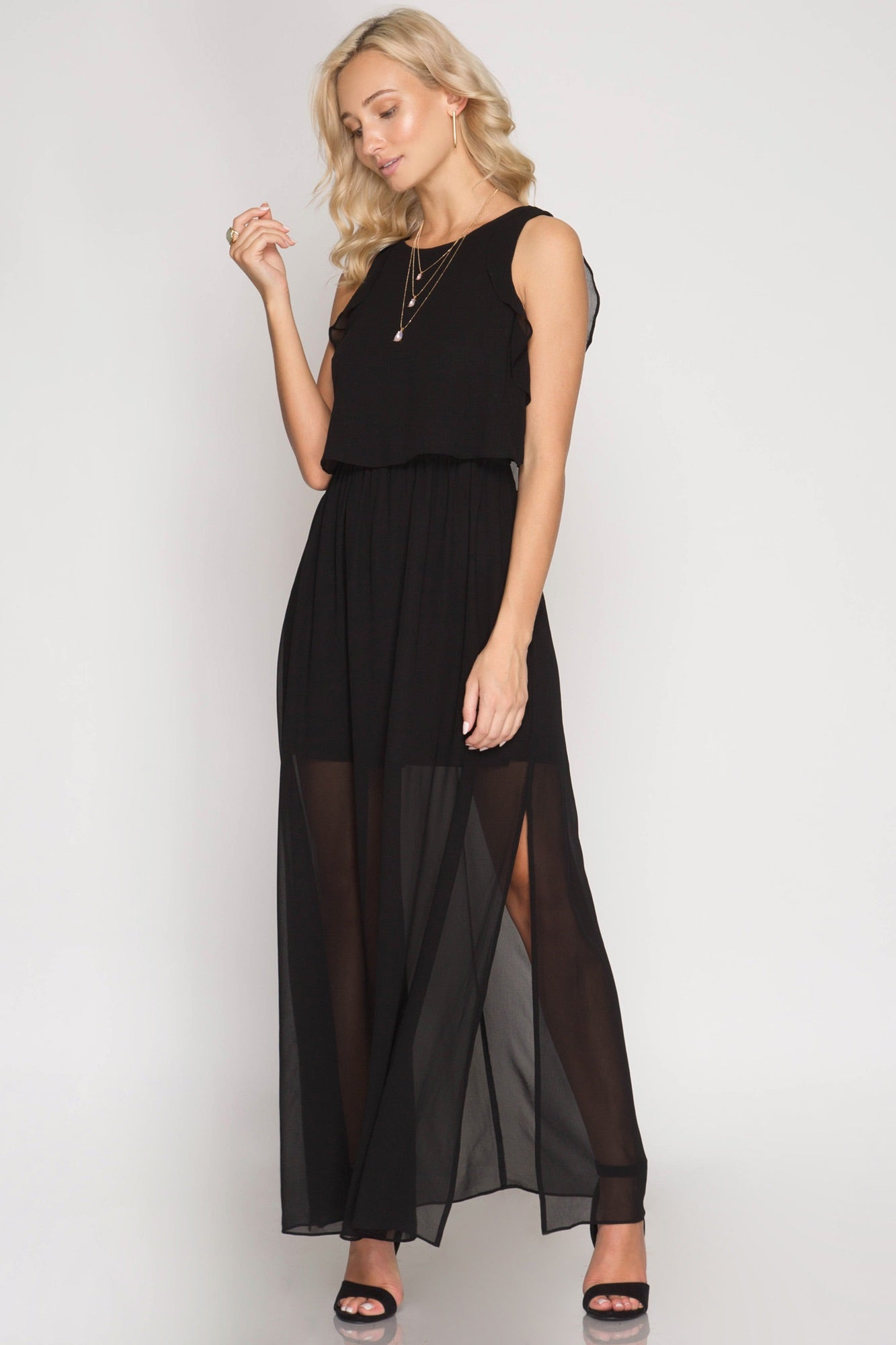 Maxi Dress w/Ruffle Sleeves