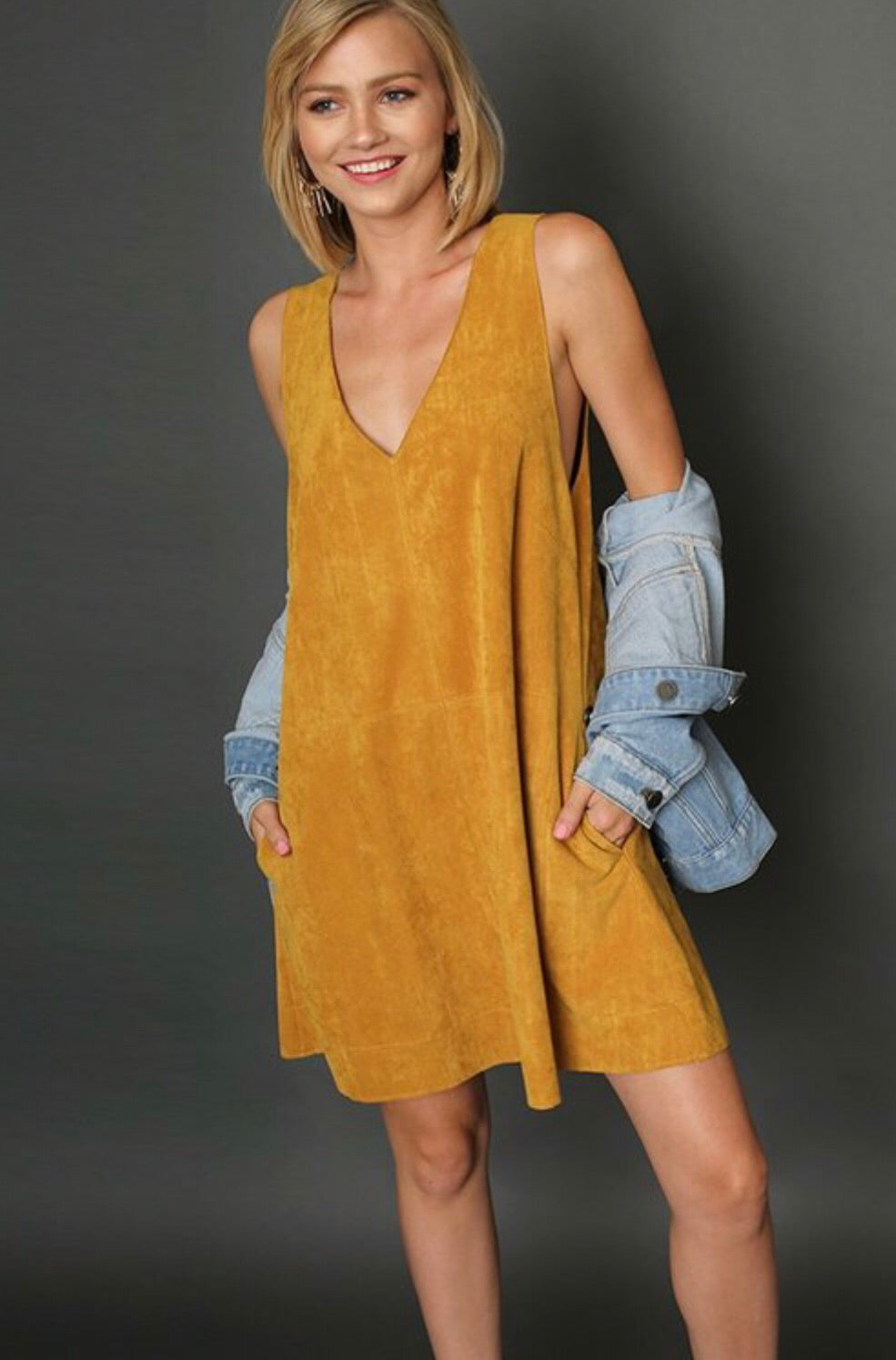 Suede VNeck Pocket Dress