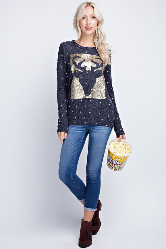 Sequins Reindeer Patch Top