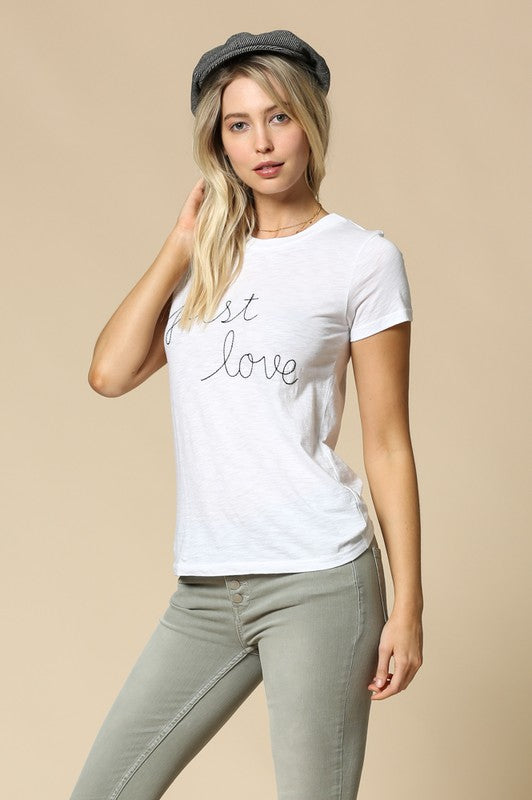 Just Love Embroidered Tee