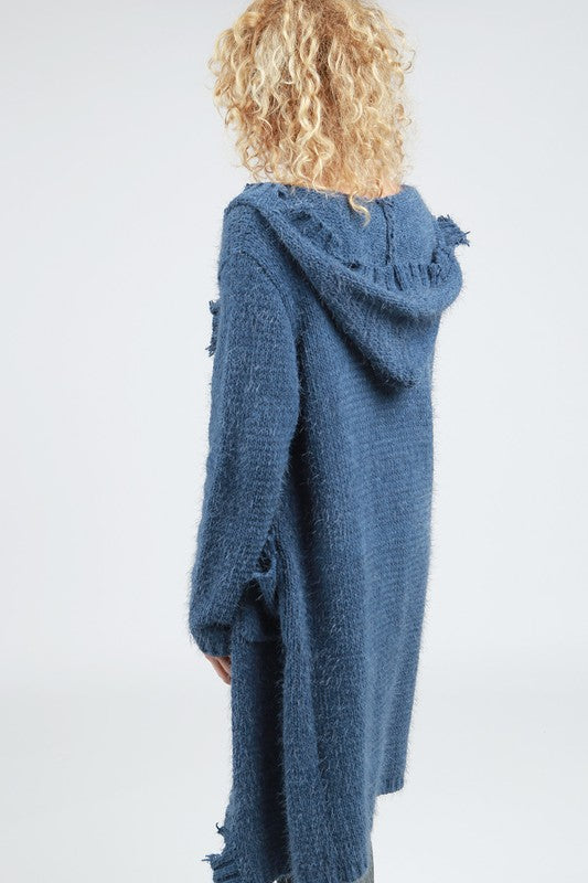 Destroyed Mohair Hooded Cardi w/Raw Edges
