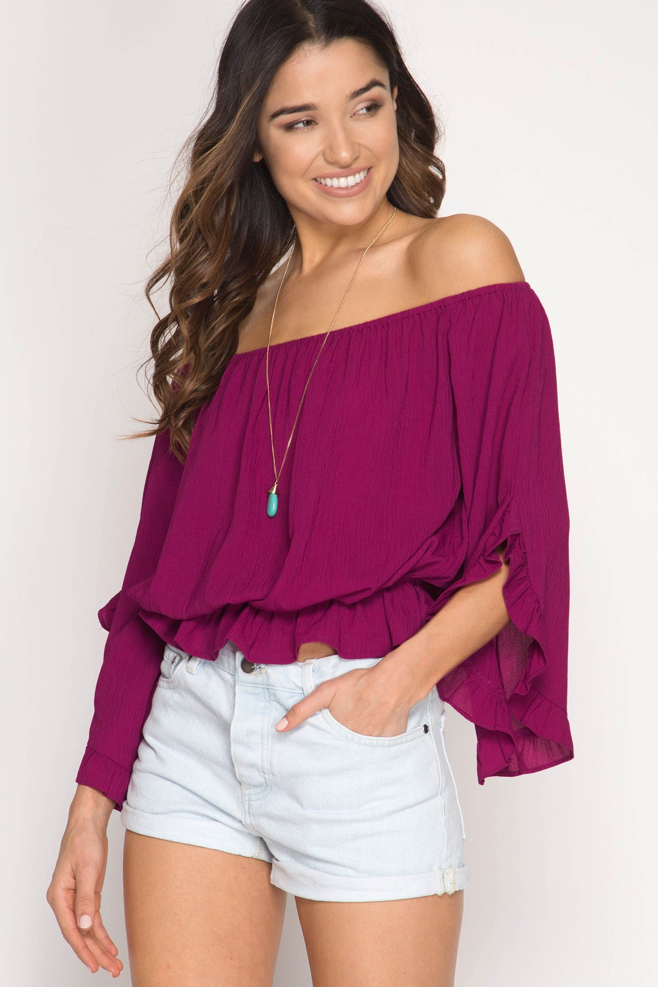 3/4 Ruffle Sleeve Off Shoulder Top