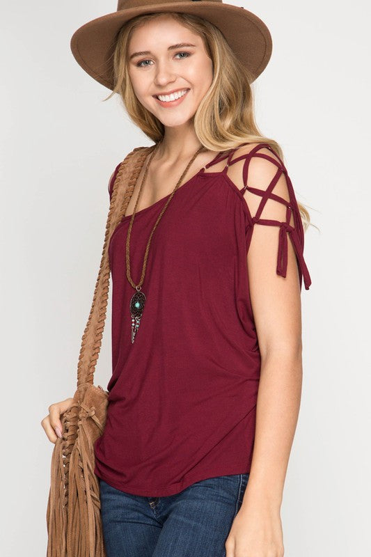 Open Shoulder Spaghetti Detail Top