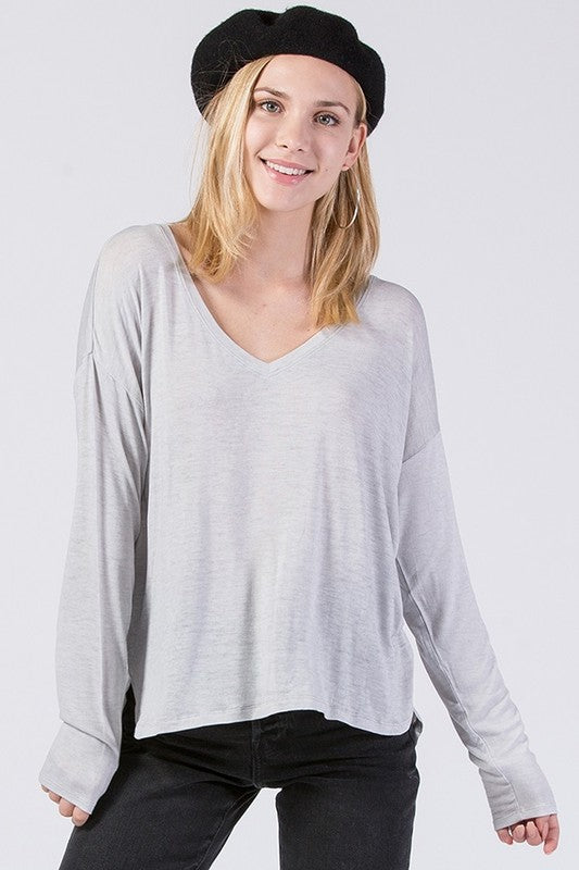 LS V Neck Top