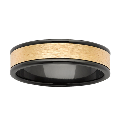 Black Zirconium & Yellow Gold Ring