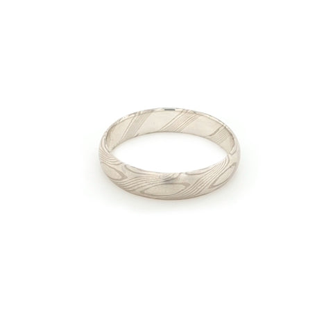 Haiiro - 14ct White Gold & Silver Mokumegane Ring