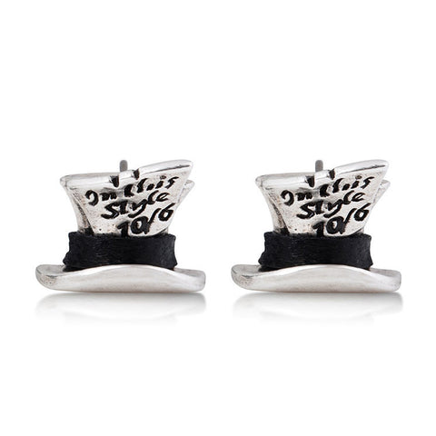 Mad Hatter Stud Earrings (WG)