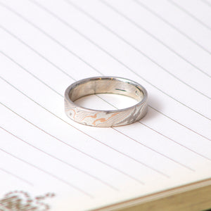 14ct Rose & White Gold with Sterling Silver Mokumegane Ring