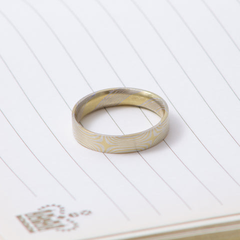 18ct Yellow Gold and Sterling Silver Mokumegane Ring