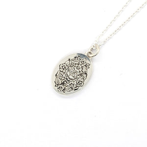 Hand Engraved Floral Bouquet Pendant with chain