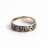 Hand Engraved Platinum Ring with deep relief scrollwork