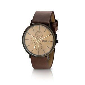 UNION ST. - Callum Unisex Watch, Cognac Dial, Chocolate Strap.