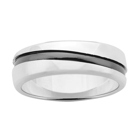 Sterling Silver & Black Zirconium Ring