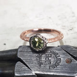 9ct Rose Gold & White Gold Green Sapphire Ring