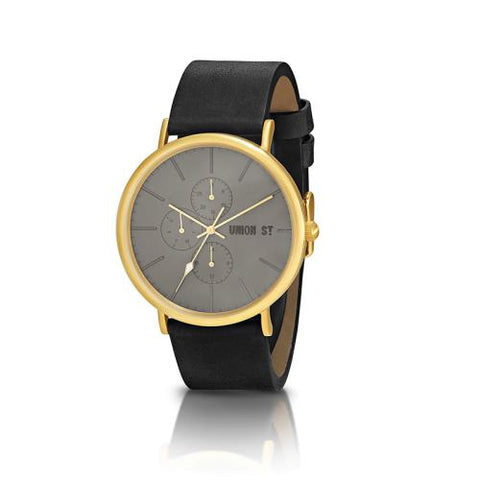 UNION ST. Callum Unisex Watch, Gun Metal Dial, Black Strap.