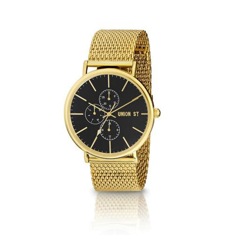 UNION ST. Ethan Unisex Watch, Black Dial, Steel / Gold Mesh Bracelet