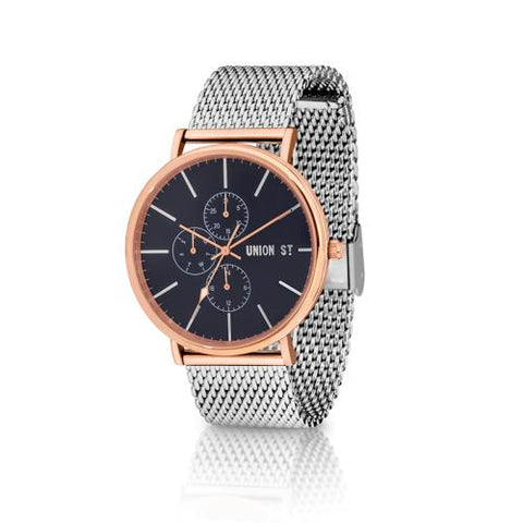 UNION ST. Ethan Unisex Watch, Navy Dial, Steel Mesh Bracelet.