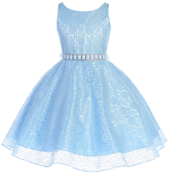 83c67bc7ceb4 Little Girls Dress Sleeveless Floral Lace Rhinestone Holiday Flower Girl  Dress - Dreamerpepi