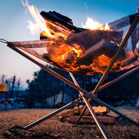 Outdoor Fire Pit Stand Folding Portable Rack Fast Heating Wood Charcoal Stove Camping Tool