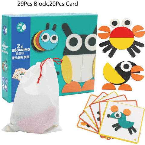 155pcs Wooden Pattern Block Set
