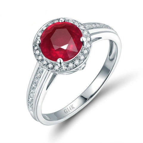 Solid 14K White Gold Real Diamond Natural Ruby Anniversary Ring