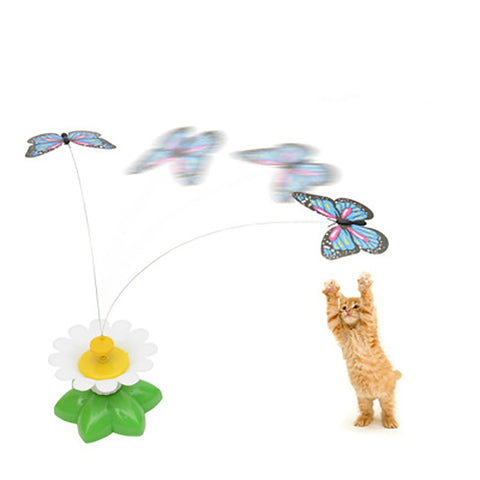 Cat Toy Rotary Butterfly or Bird On A Wire Turns Color Random