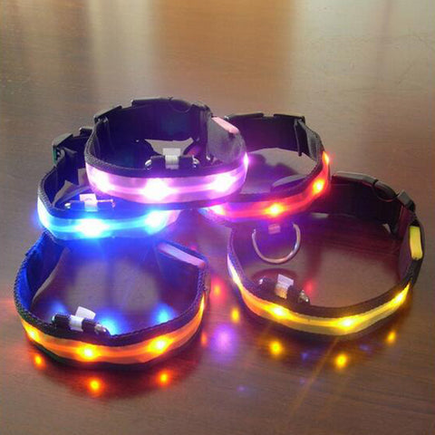 Nylon LED Pet Dog Collar Night Safety & Anti-Lost Flashing 7 Colors S M L XL Size - Pet