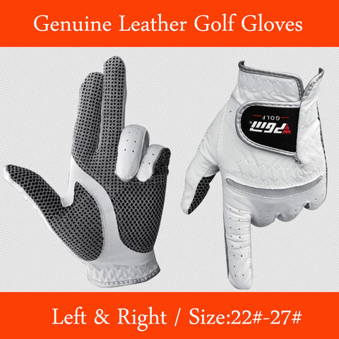 Genuine Leather Golf Gloves Men's Left or Right Hand Soft Breathable Pure Sheepskin