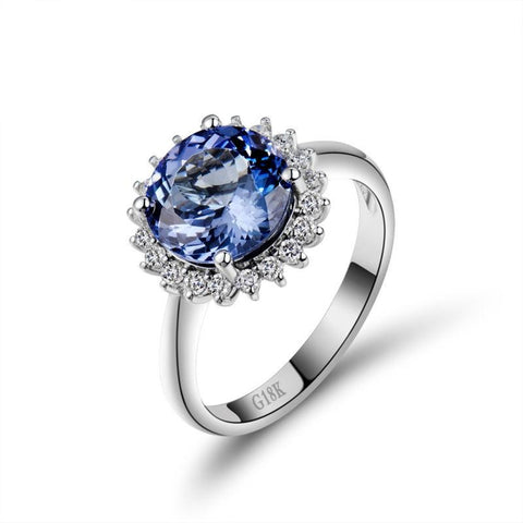 Natural AAA Diamond Tanzanite Ring Solid 18Kt White Gold Tanzanite Engagement Ring Round 7mm