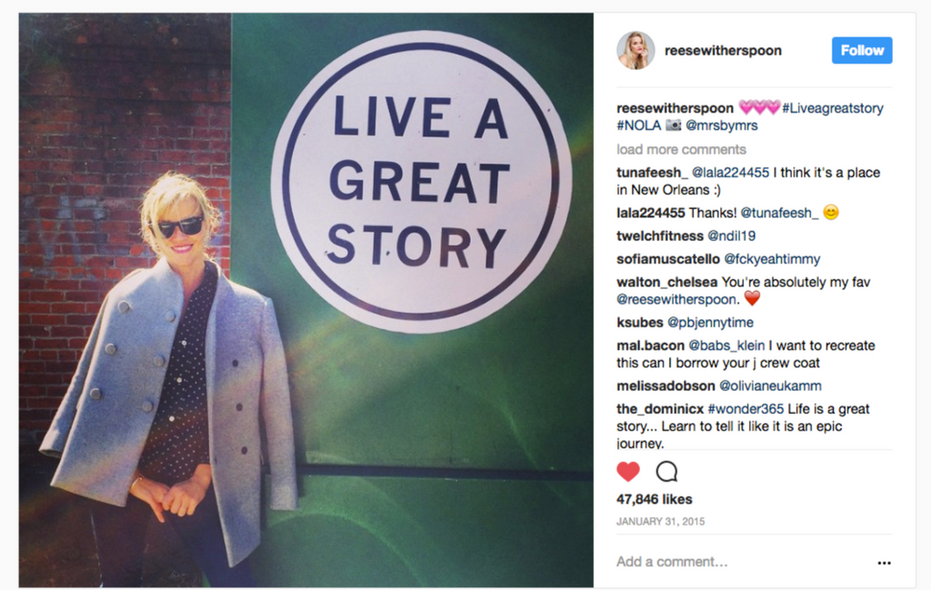 Reese Witherspoon for LIVE A GREAT STORY