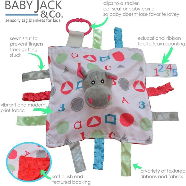 Baby Jack & Co lovey Baby Jack & Co Sensory Educational Hippo Lovey (0-12 Months)