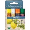 Badger lip balm Badger Organic Lip Balm - Classic Lip 4-pack (Blue Box) -- Contains Ginger/ Unscented/ Tangerine/ Mint
