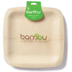 Bambu Disposable Plates 7 INCH Bambu - All Occasion Organic Veneerware 8 Pack (2 sizes)
