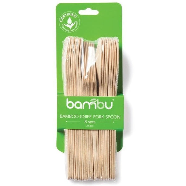 Bambu Disposable Plates Bambu All Occasion Veneerware® Bamboo Knife, Fork, Spoon Sets