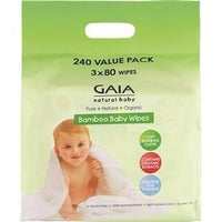 Gaia baby wipes Gaia Natural Baby - Organic Bamboo Wipes 240 Value Pack (3 x 80 wipes)