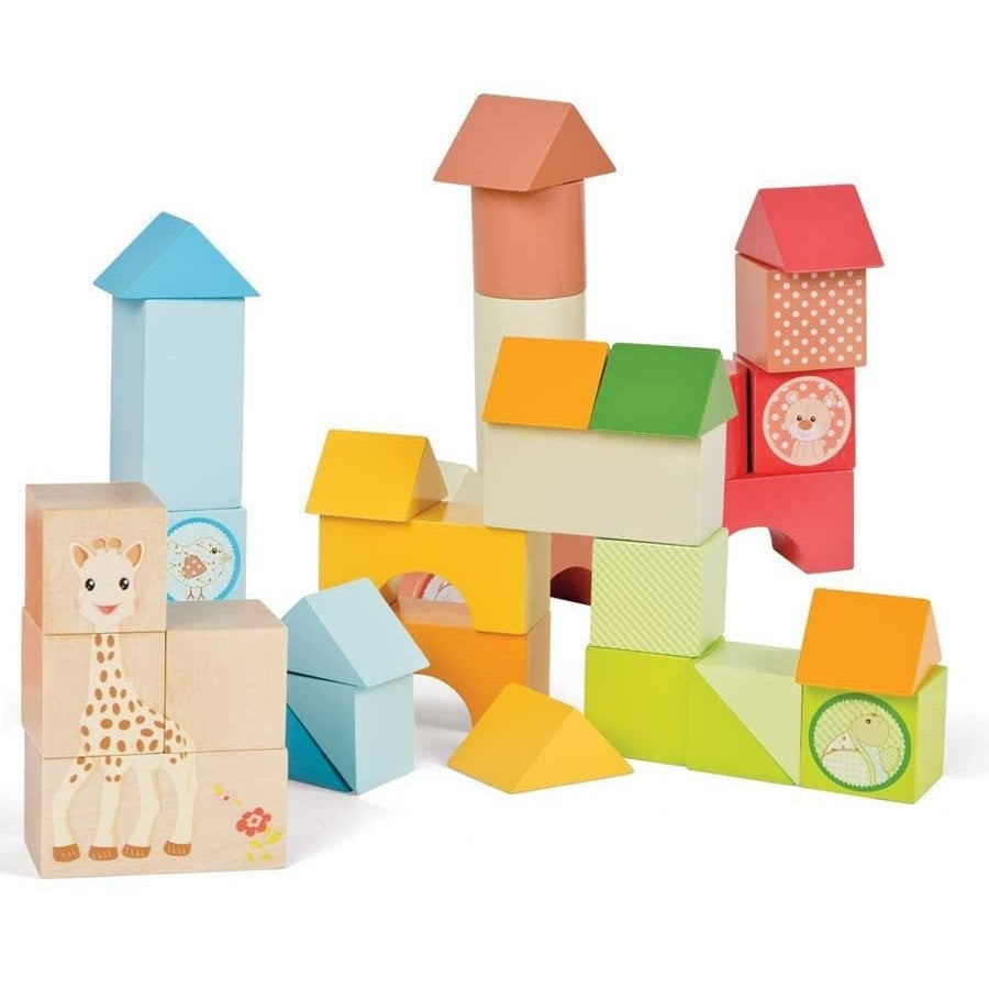 Janod Wood Toys Sophie the Giraffe Wood Block Set (18M+)
