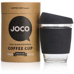 JOCO Reusable Cup 12oz / Black JOCO Reusable Glass and Silicone 12 oz Coffee Cup (3 Colours)