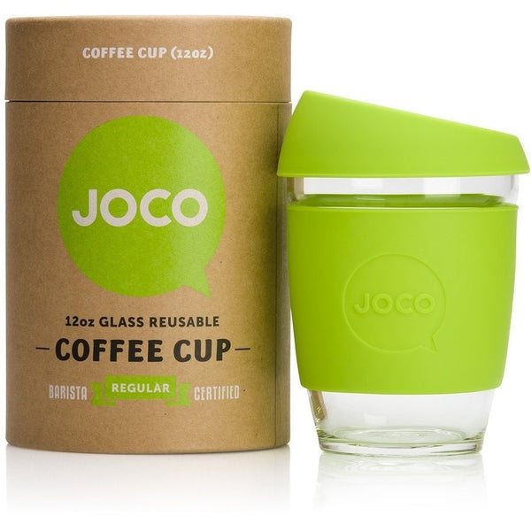 JOCO Reusable Cup 12oz / Lime JOCO Reusable Glass and Silicone 12 oz Coffee Cup (3 Colours)