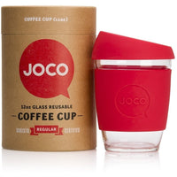 JOCO Reusable Cup 12oz / Red JOCO Reusable Glass and Silicone 12 oz Coffee Cup (3 Colours)
