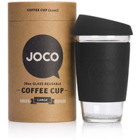 JOCO Reusable Cup 16oz / Black JOCO Reusable Glass and Silicone 16oz Coffee Cup (3 Colours)