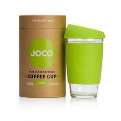 JOCO Reusable Cup 16oz / Lime JOCO Reusable Glass and Silicone 16oz Coffee Cup (3 Colours)