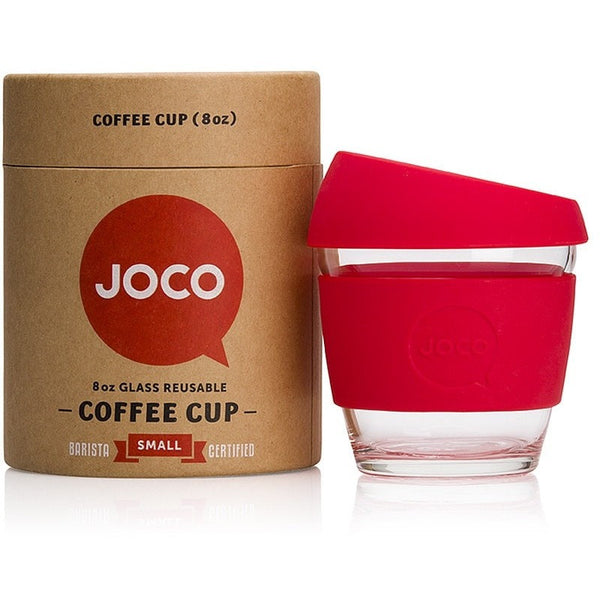 JOCO Reusable Cup 8oz / Red JOCO Reusable Glass and Silicone 8oz Coffee Cup (3 Colours)