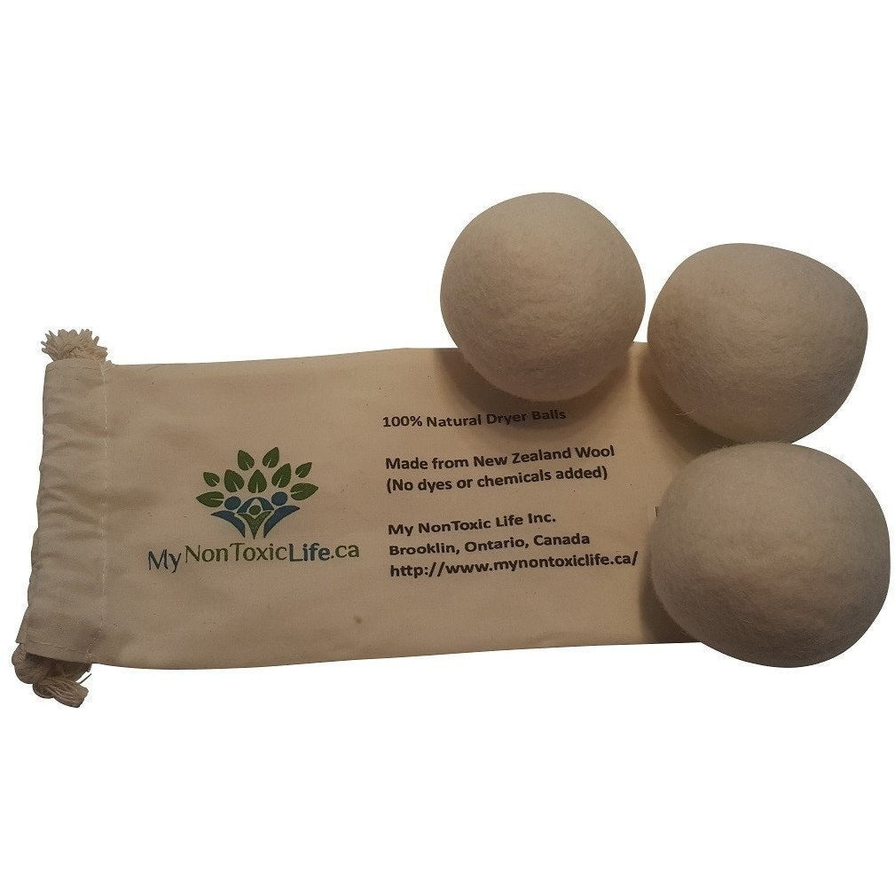 MyNonToxicLife.ca Dryer Ball Natural Wool Dryer Balls (3-Pack)