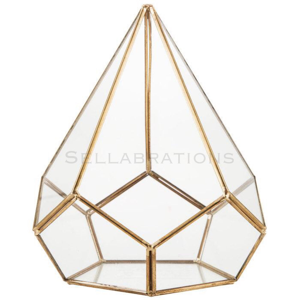 Delaney Gold Geometric Glass Terrarium Sellabrations Sg
