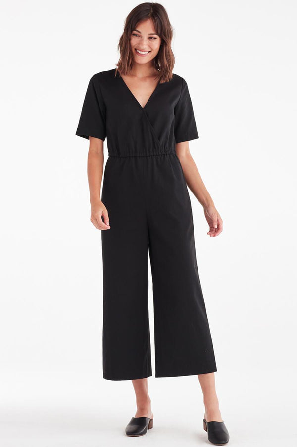 VETTA XS / Black Canvas The Wrap Jumpsuit capsule wardrobe
